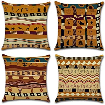 Afrika Antike Ethnische Stil Kissen Fall Für Schlafcouch Wohnzimmer  Schlafzimmer Home Decor, Personalisierbar Quadratisch Baumwolle