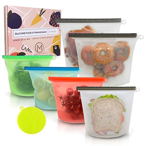 Amazon.com  Reusable Silicone Food Storage Bags 0f30ffd9179ed