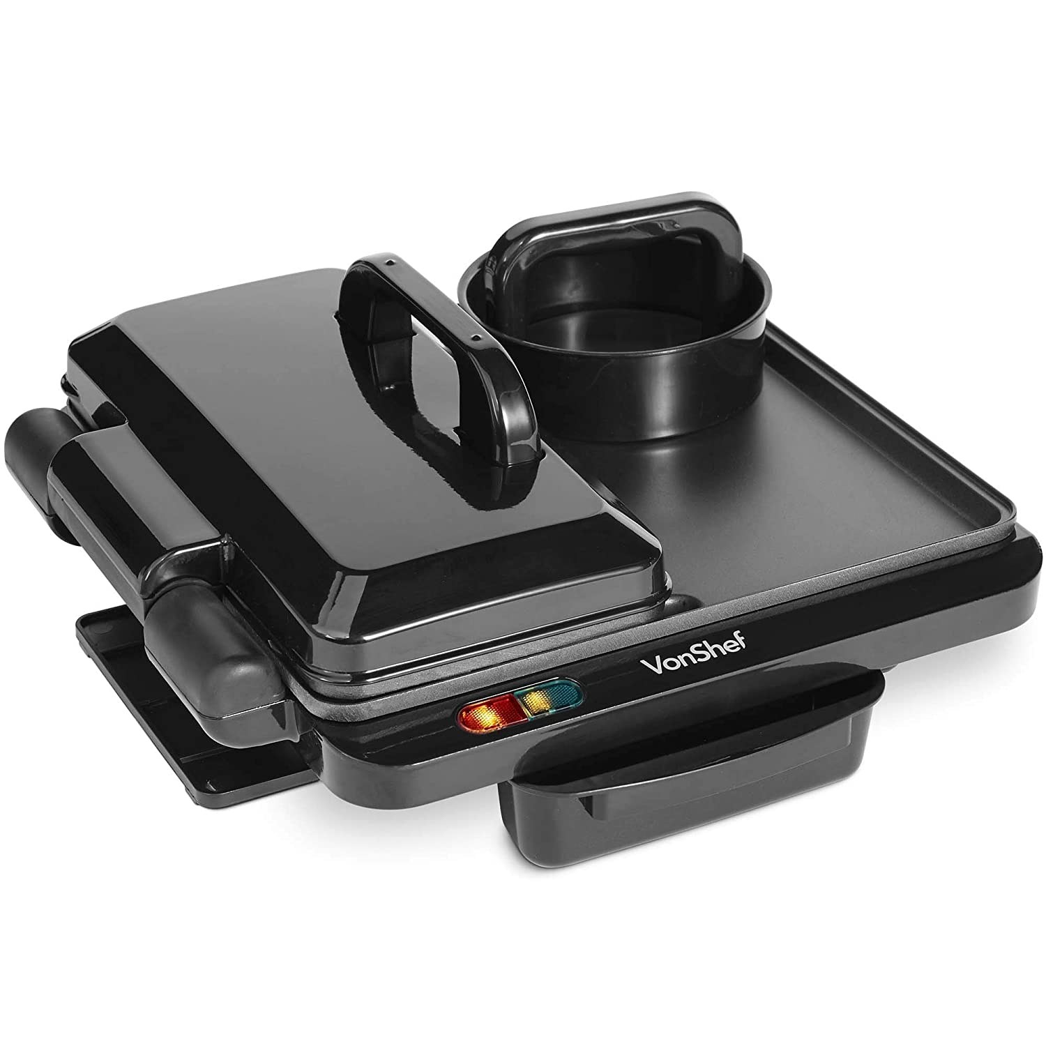 VonShef Breakfast Grill Griddle with Adjustable Temperature Control, Non Stick Coating and Butterfly Grill - 1100W