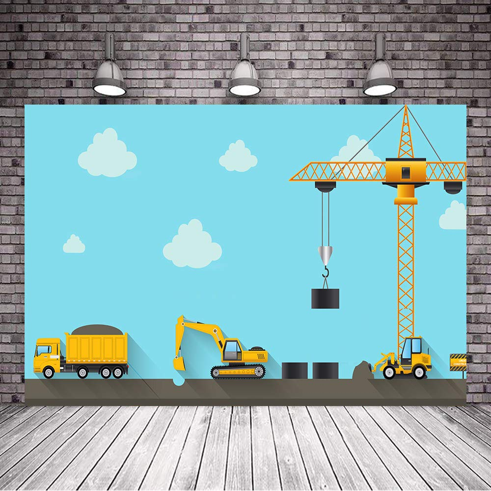 Boys Construction Theme Party Backdrops 7x5ft Cartoon Digger Excavator Dump Trucks Background Blue Sky and White Cloud Kids Birthday Banner Decorations Supplies ZYVV0524