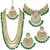 Aheli Indian Wedding Kundan Beaded Bridal Long Choker Necklace Earrings with Maang Tikka Traditional Jewelry Set for…