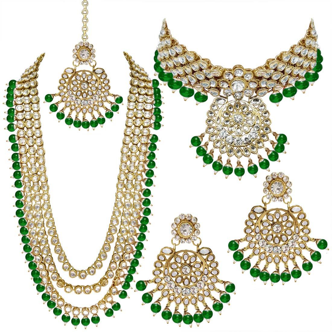 Aheli Indian Wedding Kundan Beaded Bridal Long Choker Necklace Earrings with Maang Tikka Traditional Jewelry Set for Women (Green)