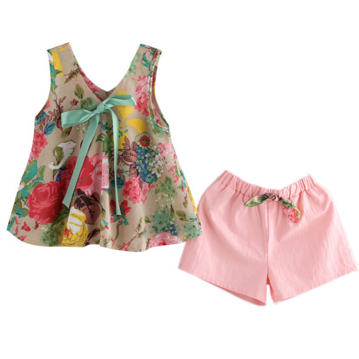 Zcaosma Girls Floral Printed Sleeveless Baby Vest Tops +Shorts Sets,6T