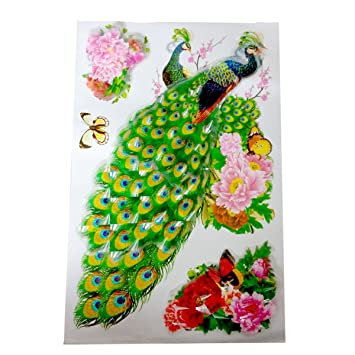 Buy 4D Design Peacock Wall Sticker Online at Low Prices in India