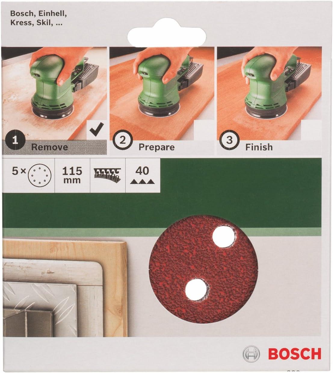 Bosch 2609256A15 Feuilles abrasives pour Ponceuses excentriques Diam/ètre 115 mm 8 trous Grain 40 Lot de 5 feuilles