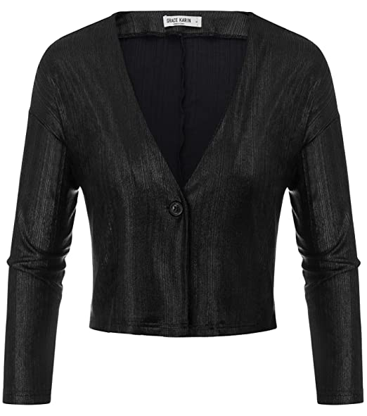 359207f998 Womens Long Sleeve Bolero Shrugs Button Down Cropped Cardigans Black S