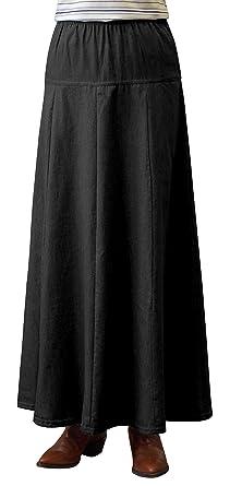 1b8a524c307c Womens Ultra Soft Lightweight Denim Fit and Flare A-Line Maxi Skirt - Black  X