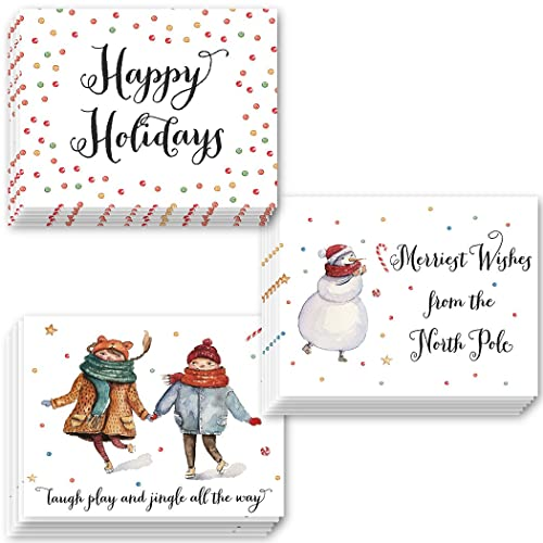 Amazon 48 christmas holiday greeting cards with 3 charming 48 christmas holiday greeting cards with 3 charming assorted designs premium set with envelopes m4hsunfo