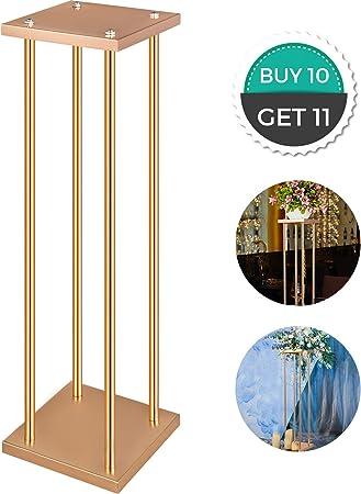 Casnuova Supporto per Vaso Colonna con Piastra 11 Pezzi 20x20x100cm Supporto per Fiori Matrimonio Centrotavola Matrimonio Colore Oro