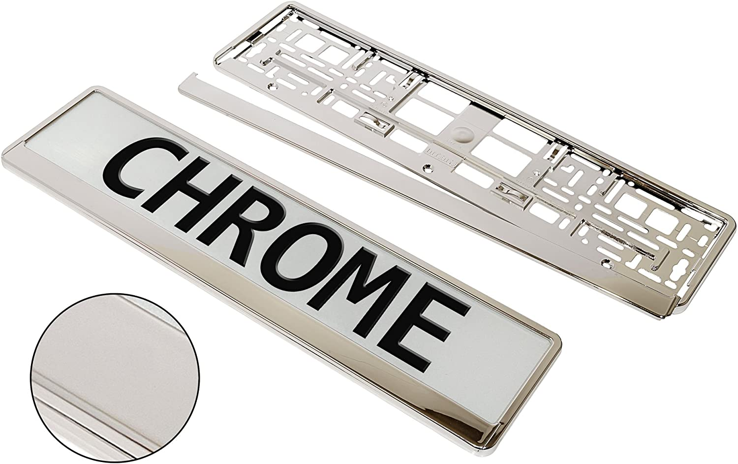 2 X QUALITY CHROME NUMBER PLATE SURROUND HOLDER NEW
