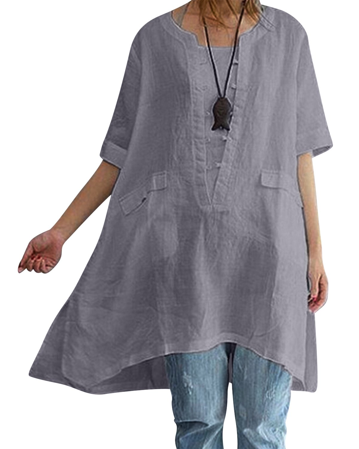 BBYES Womens Solid Cotton Linen Short Sleeve Split Side Tunic Top Tees with Pocket Gray L