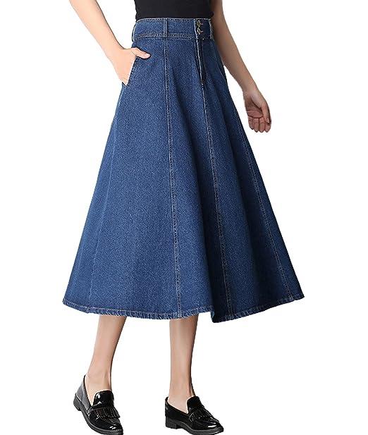 0398d3256d Femirah Women's High Waist A-Line Pleated Long Denim Skirt: Amazon.co.uk:  Clothing