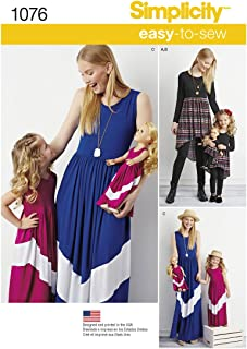 product image for Simplicity 1076 Girl's, 18'' Doll's, and Women's Maxi Dress Sewing Pattern, Sizes 3-8 and XS-XL