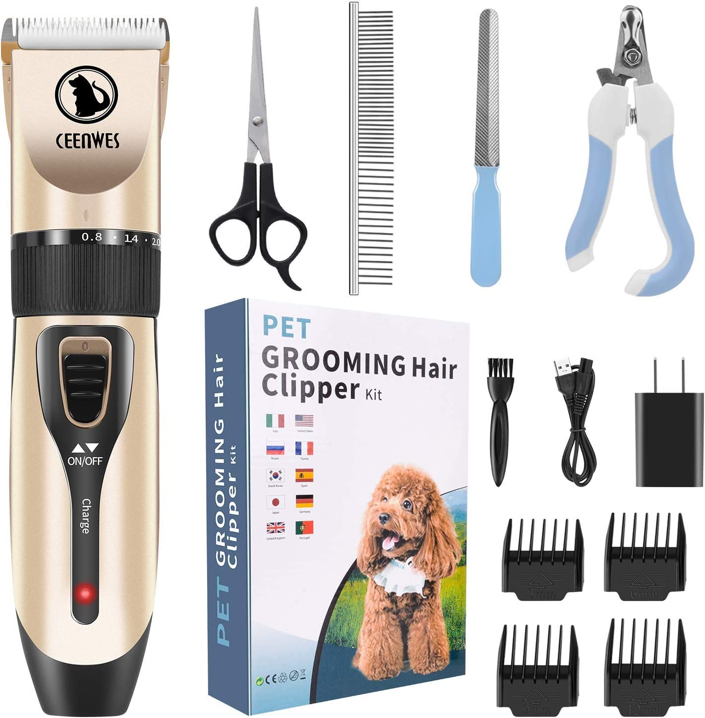 Ceenwes Cordless Pet Grooming Clippers Professional Pet Hair Clippers Detachable Blade with 4 Comb Guides for Small Medium & Large Dogs Cats and Other House Animals Pet Grooming Kit