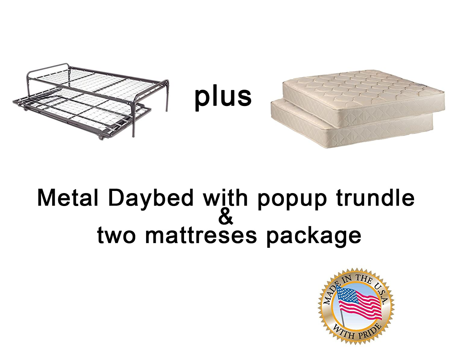 Twin Size Metal Day Bed Daybed Frame Pop up Trundle with Mattresses Included Package Deal