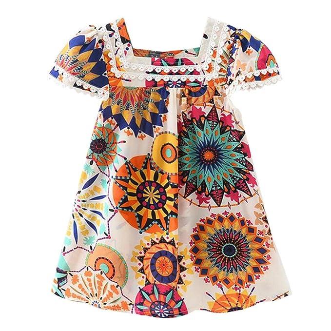 Vestidos Bebé,Switchali Bebé niña Algodón princesa Vestidos Encaje girasol floral Manga corta Traje de