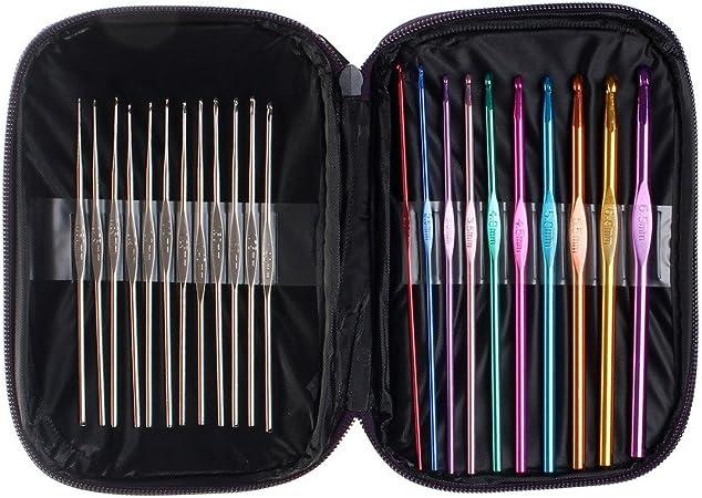 Sicai – ganchos crochet, varios colores, juego de agujas de ganchillo de aluminio para tejer, 22 piezas: Amazon.es: Hogar