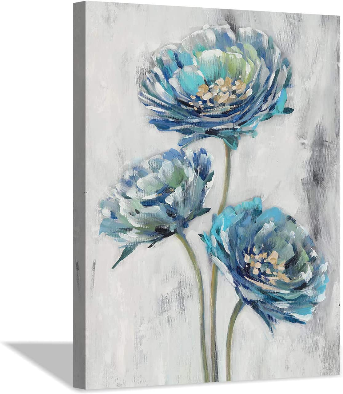 "Abstract Floral Canvas Wall Art: Blossom Blue Lotus Flower Artwork Painting Print for Bathroom ( 12"" x 16"" x 1 Panel )"