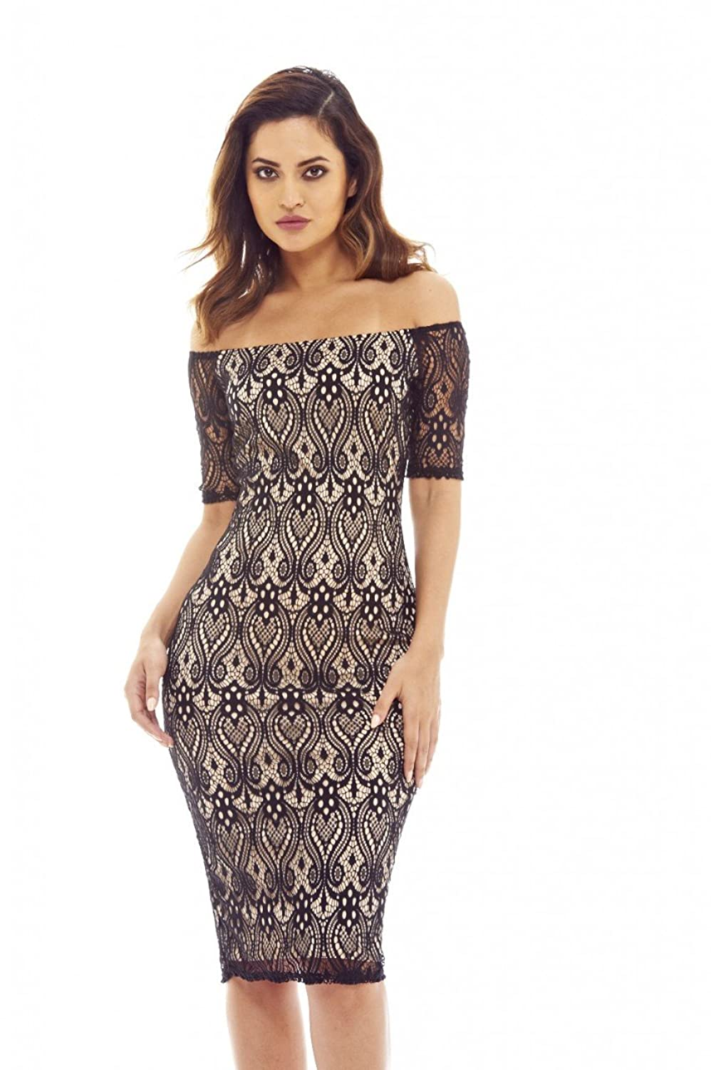 40a41aa159336e 100% Polyester Imported This black and nude bodycon midi dress with its lace  detailed front is perfect for any occasion! Color: Black