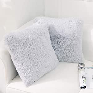 """NordECO HOME Luxury Soft Faux Fur Fleece Cushion Cover Pillowcase Decorative Throw Pillows Covers, No Pillow Insert, 18"""" x 18"""" Inch, Light Grey, 2 Pack"""