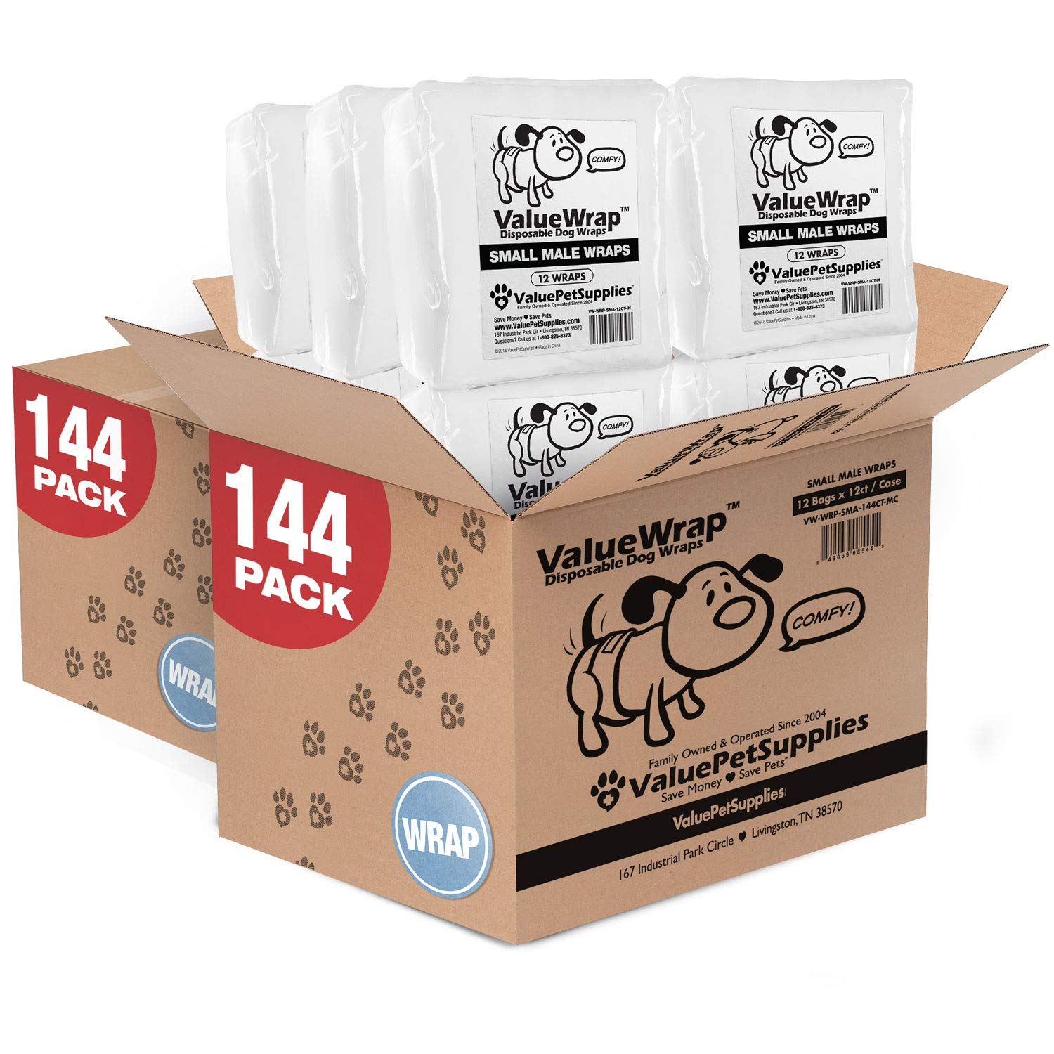 ValueWrap Disposable Male Dog Diapers, 2-Tab Small, 288 Count - Absorbent Male Wraps for Incontinence, Excitable Urination & Travel, Fur-Friendly Fasteners, Leak Protection, Wetness Indicator by ValueWrap