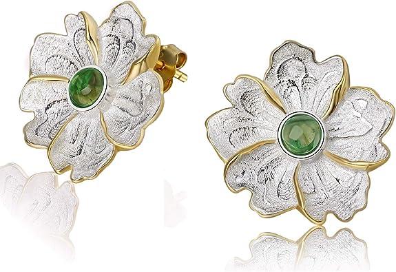 Women/'s Dainty Yellow Flower Bee Nature Animal Stud Earrings Flower Studs 925 Sterling Silver Bee