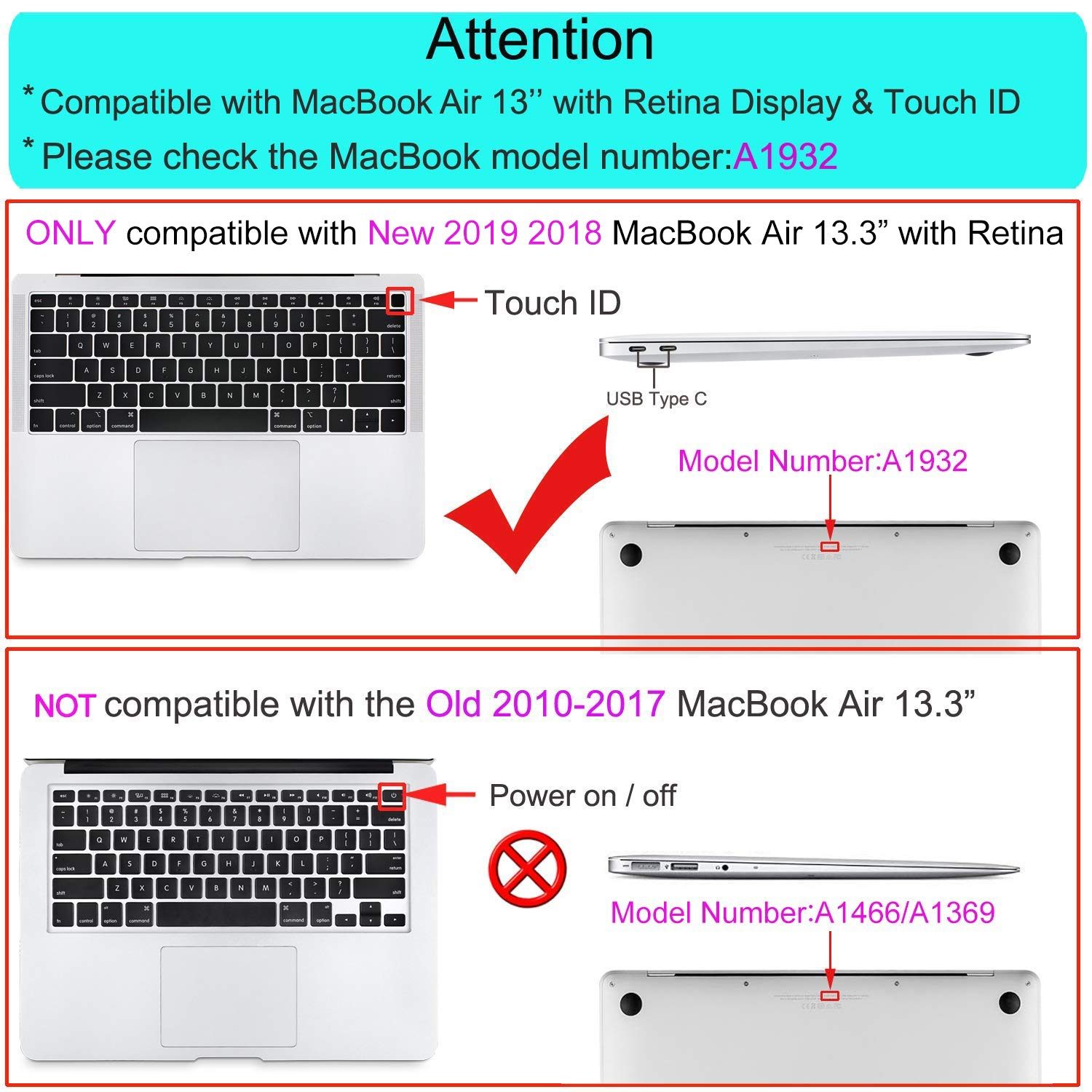 MOSISO MacBook Air 13 inch Case 2019 2018 Release A1932 with Retina Display, Plastic Hard Shell & Keyboard Cover & Screen Protector & Storage Bag Compatible Newly MacBook Air 13, Crystal Clear by MOSISO (Image #2)