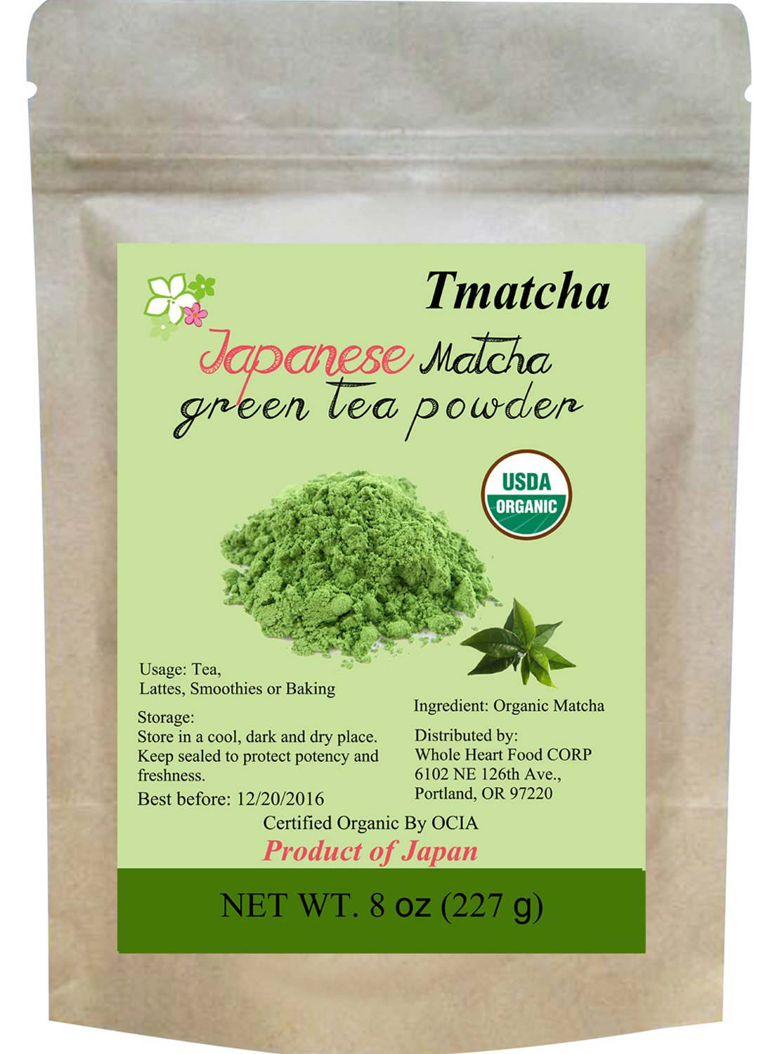 Tmatcha Organic Japanese Matcha Green Tea Powder USDA Organic Certified Culinary Grade 8oz