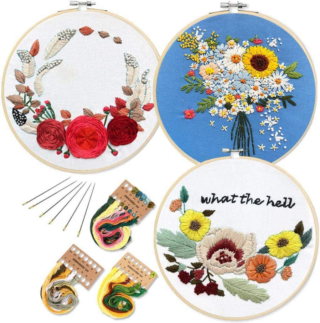 Louise Maelys Embroidery Kit for Beginners Cross Stitch Kits with Preprinted Pattern Embroidery Cloth and Instruction Adults Crafts for Home Decoration Gift