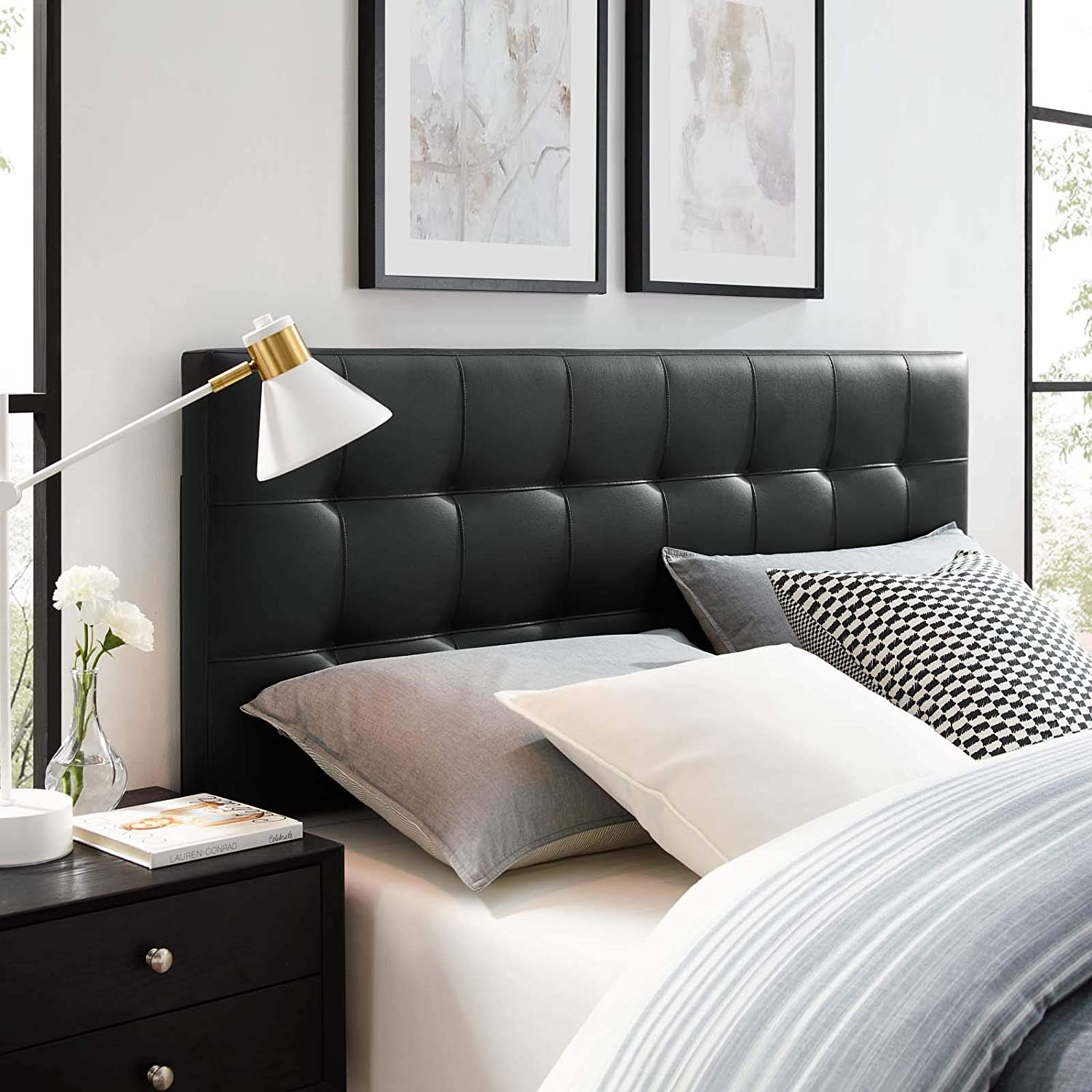 Modway Lily Tufted Faux Leather Upholstered Queen Headboard in Black