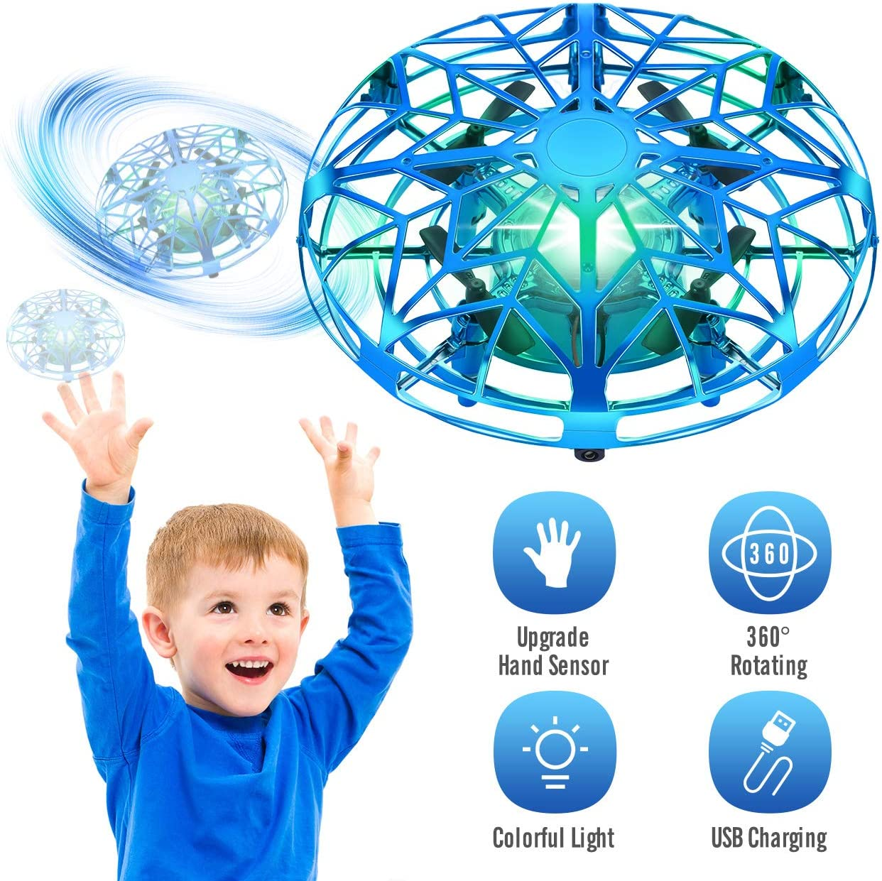 Tesoky Hand Operated Drones for Kids or Adults with 360°Rotating and Colorful LED Lights, Flying UFO Cool Toys for Kids Play Indoor or Outdoor,Best Gifts for Kids Boys Girls-Blue