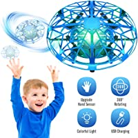 Tesoky Drones for Kids with Colorful LED Lights, Flying UFO Cool Toys for 3-12 Year Old Kids Boys Girls Play Indoor or Outdoor,Best Gifts for 3-12 Year Old Kids Boys Girls-Blue