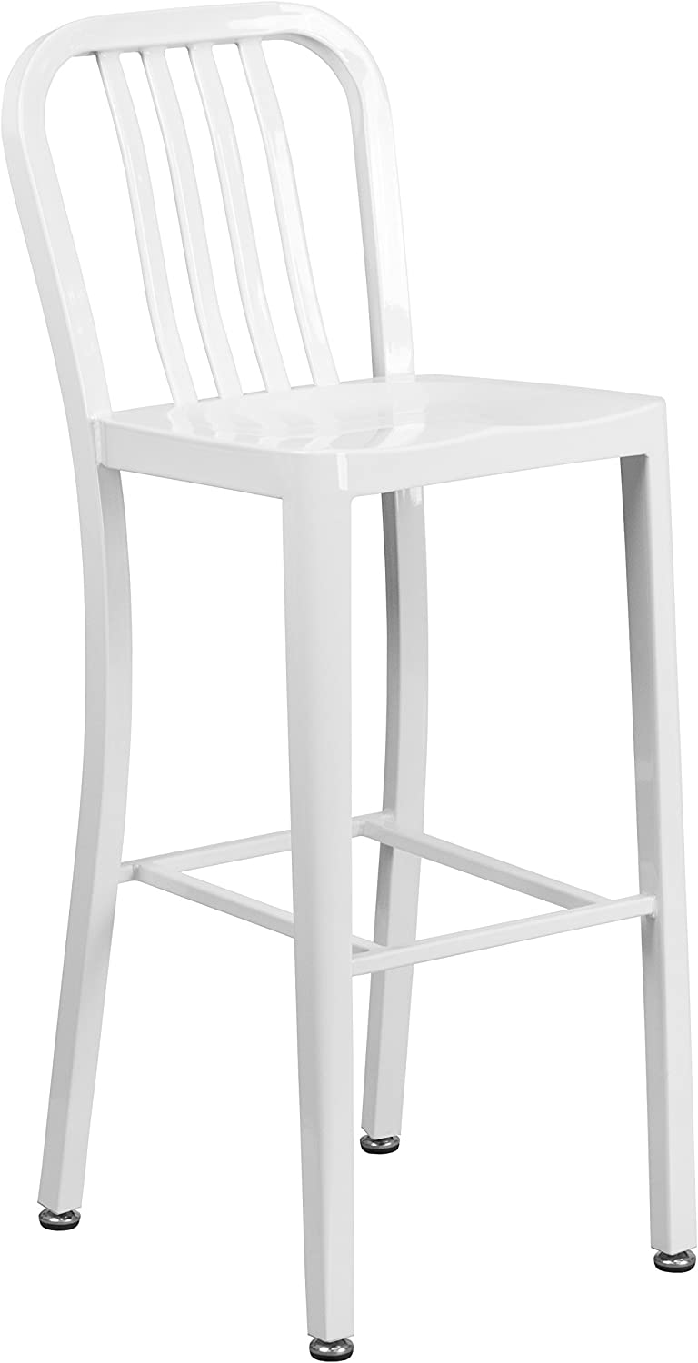 """Flash Furniture 30"""" High White Metal Indoor-Outdoor Barstool with Vertical Slat Back"""