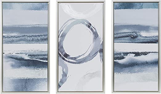 Amazon Com Madison Park Grey Surrounding 3 Piece Set Wall Art Gel Coated Canvas Silver Frame Modern Abstract Hand Embellished Global Inspired Painting Living Room Accent Decor Silver Grey 31 6 X 16 6 Posters