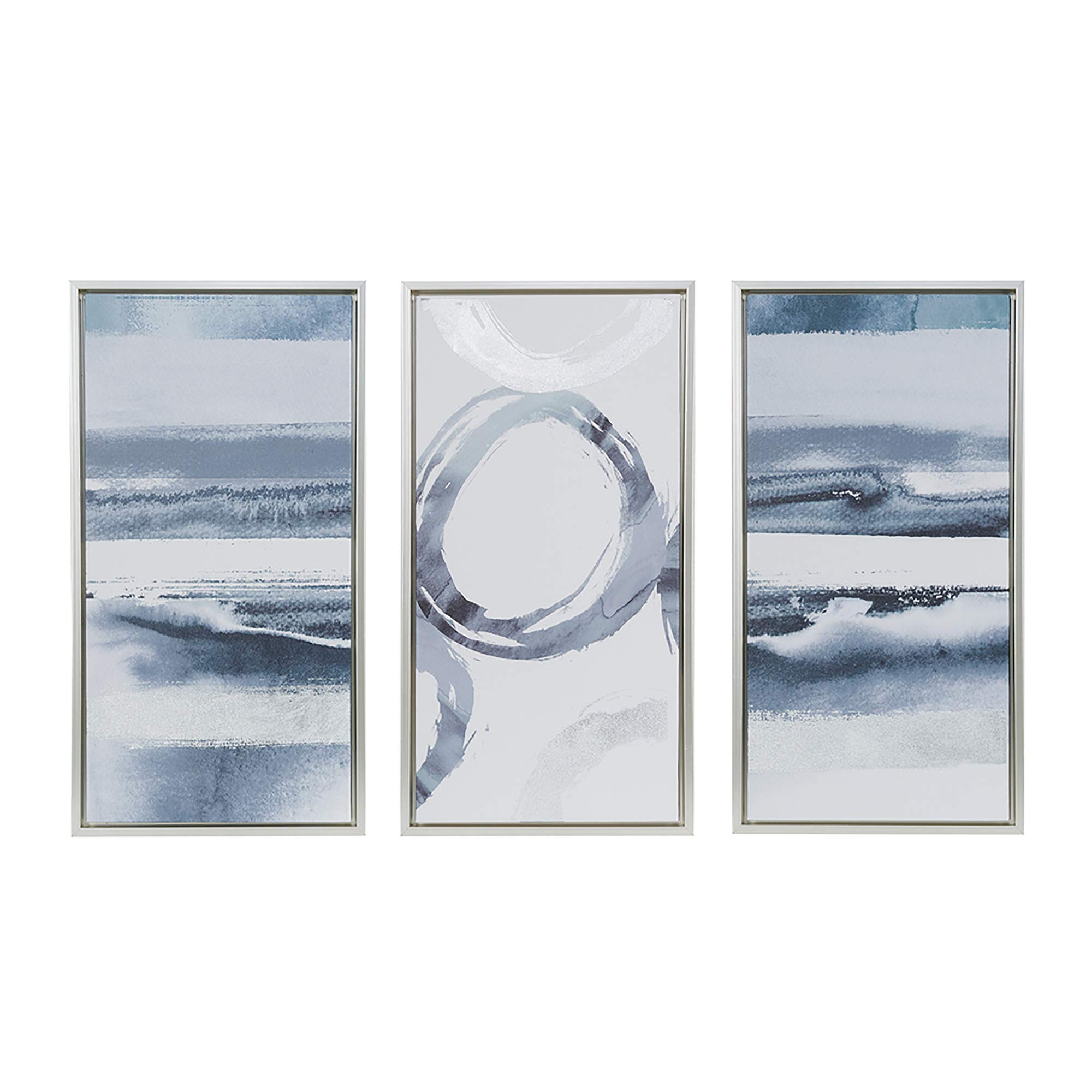 Grey Surrounding Grey White Framed Canvas Wall Art 16.6X31.6, Abstract Modern/Contemporary Framed Wall Décor by Madison Park