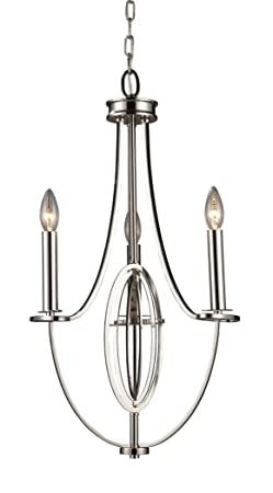 Elk 10120 3 Dione 3-Light Chandelier in Polished Nickel