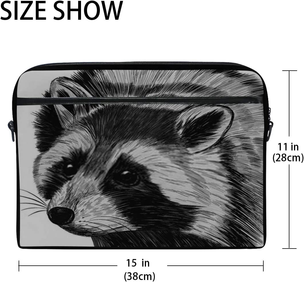 Briefcase Messenger Shoulder Bag for Men Women Laptop Bag Raccoon Small Animal Cute Fluffy Realistic 15-15.4 Inch Laptop Case College Students Busi
