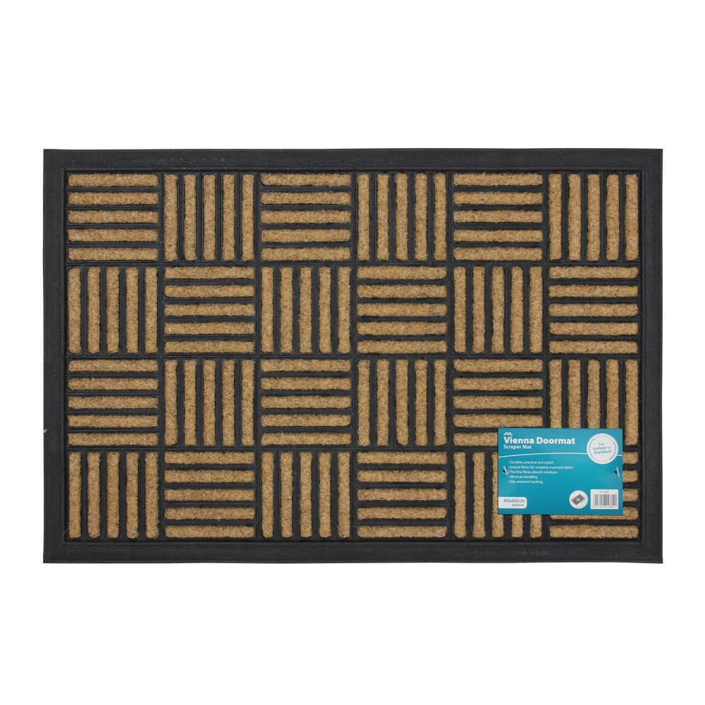 JVL Vienna Heavy Duty Rubber Backed Scraper Entrance Door Mat-Lines, 40 x 60 cm 01-360LI