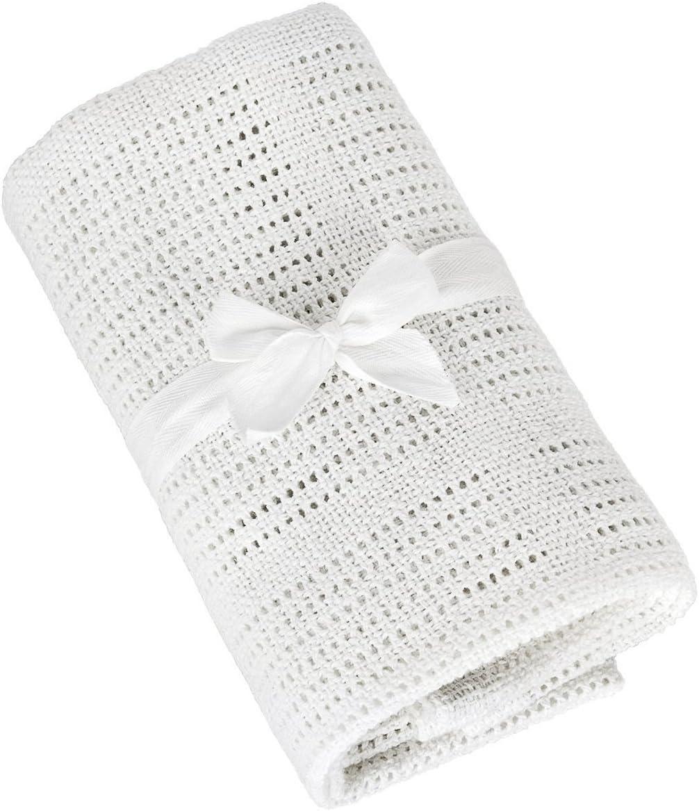 TALINU manta para bebés de al 100% de algodón - manta de primerizos, manta suave, manta tejida con lazo compuesta