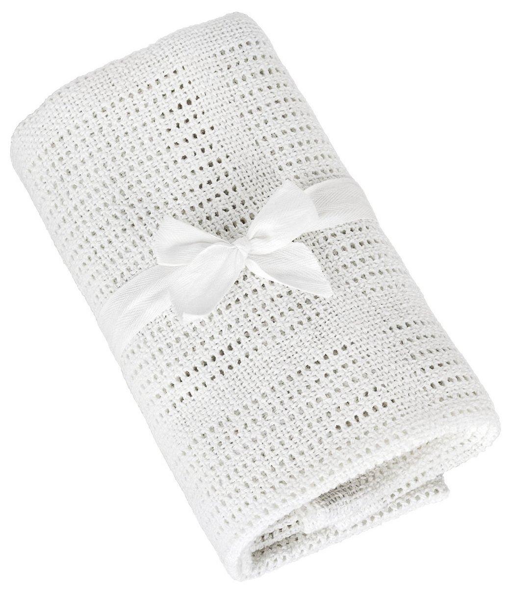 TALINU couverture de bébé en tricot avec nœud cadeau (70cm x 90 cm, 100% coton) | 2 ans de garantie de satisfaction | couverture nouveau-né eSpring GmbH