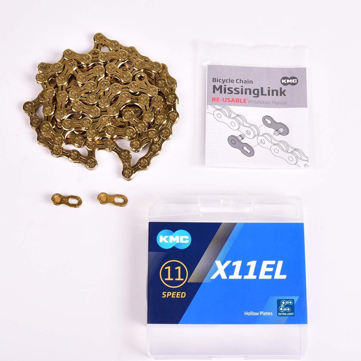 KMC X11EL Ti-N Color Dorado 118 eslabones Cadena para Bicicleta