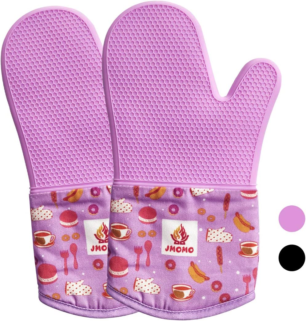 Premium Silicone Oven Mitts Set,Heat Resistant for 500 Degrees with Waterproof, Non-Slip, Kitchen Food Safe Oven Gloves with Cotton Inner Lining for Kitchen,Baking,Cooking,BBQ,Purple 1 Pair,Set of 2