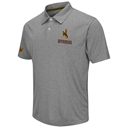 ccdde00e527 Amazon.com: Mens NCAA Wyoming Cowboys Polo Shirt (Heather Charcoal ...