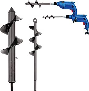 Espace Auger Drill Bit, Flighting Premium Auger Drill Bit for Planting Set 3.2 x 12In & 1.6 x 8.7In Garden Auger with Dual-Blades, Plant Flower Bulb Spiral Hole Drilling with Non-Slip Hex Drive