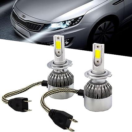 Ralbay 1 Set H7 72W 7600LM Headlight Kit Bulbs/COB Chip C6 LED Headlight 36W 3800LM Car LED Headlight Bulb Replace for Halogen or HID Bulbs C6-H7