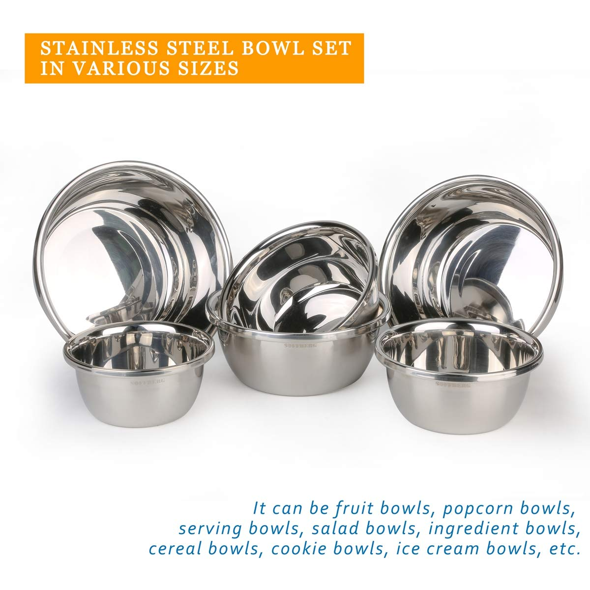 Set of 6 Mixing Bowls Stainless Steel Nesting and Convenient Storage for Meal prep, Salad, Cooking, Baking, Serving by SOFFBERG (Image #5)
