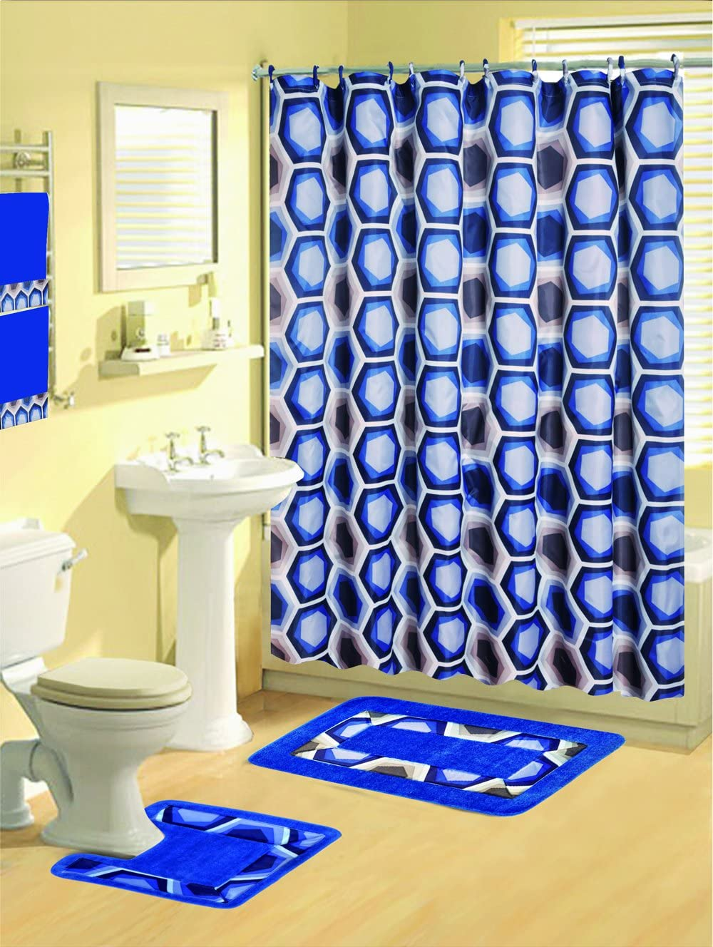 Home Dynamix Boutique Deluxe: Shower Curtain and Bath Rug Set: BOU21 Honeycomb Blue-Gray