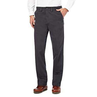 Maine New England Men Dark Grey Regular Fit Chino Trousers Maine