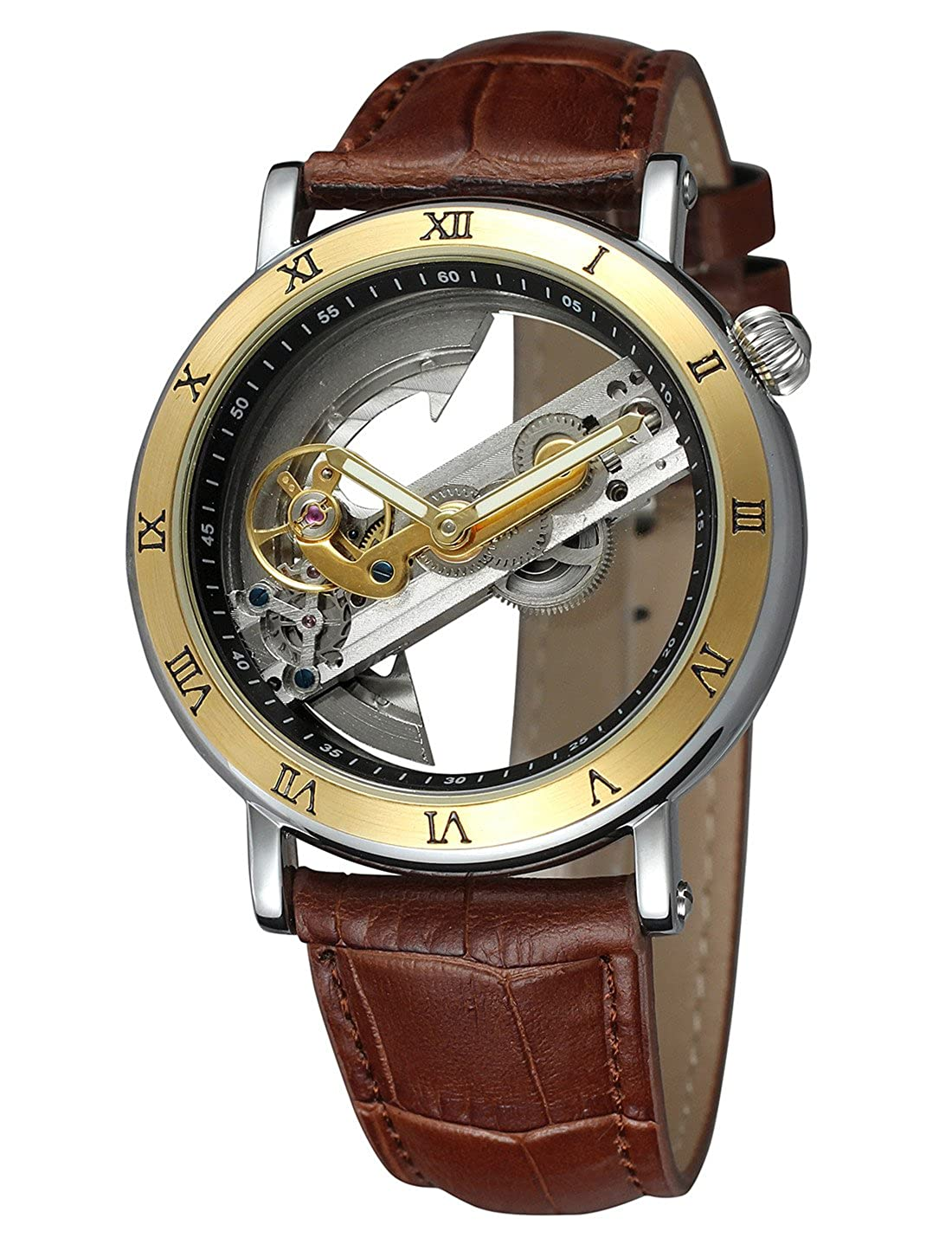 Amazon.com: Shaarms Automatic Wristwatch Transparent Dial Mechanical Leather Watches Mens Analog Watch L1003 GBrown: Watches