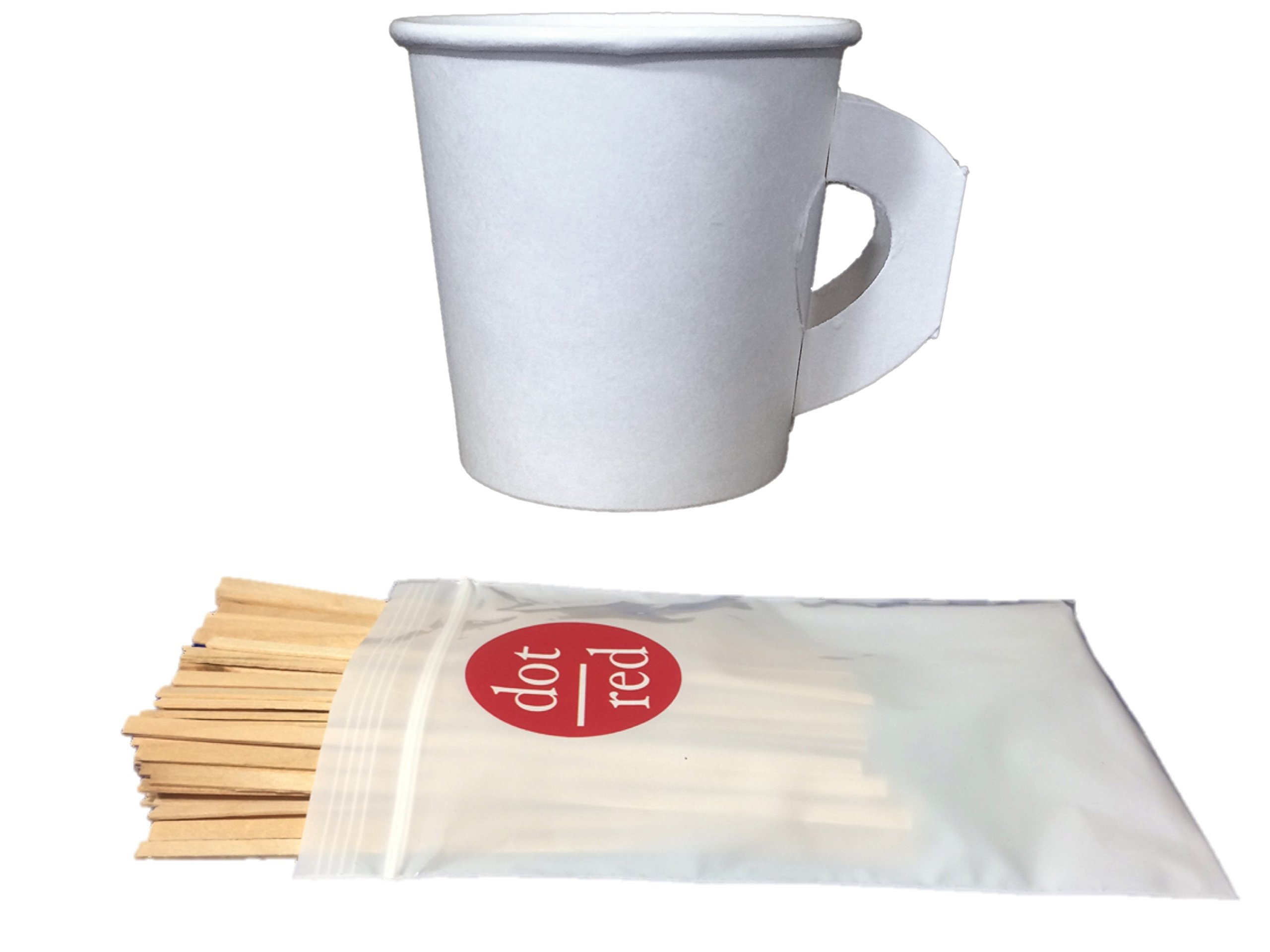 Dot Red - (100 Pack Each) Solo 4 oz. Espresso Cup with Handle (no sleeves needed!) - Leak Resistant Paper Hot Cup 374HW-2050, Dot Red 5.5'' Wood Stirrers - Solo Coffee Cup Bundle (100 Pack) by Dart Container Solo (Image #2)